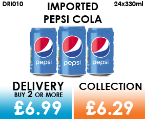 imported pepsi cola cans
